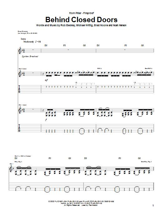 Pillar Behind Closed Doors sheet music notes and chords. Download Printable PDF.