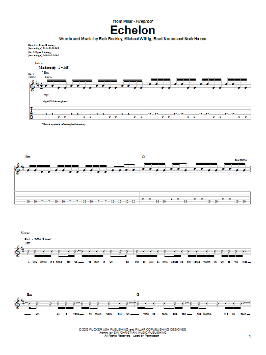 Pillar Echelon sheet music notes and chords. Download Printable PDF.