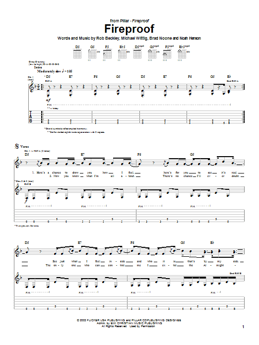 Pillar Fireproof sheet music notes and chords. Download Printable PDF.