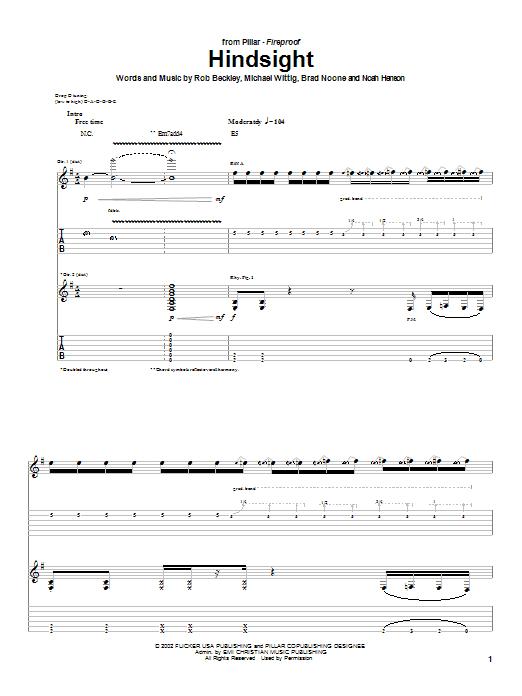 Pillar Hindsight sheet music notes and chords. Download Printable PDF.
