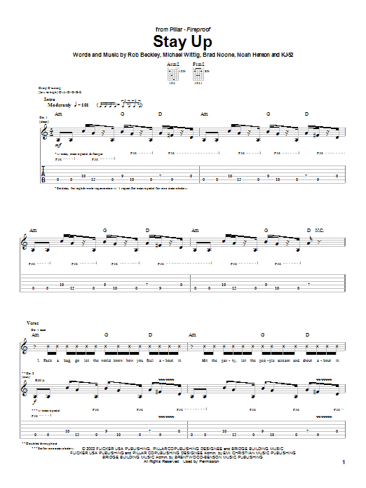 Pillar Stay Up sheet music notes and chords. Download Printable PDF.