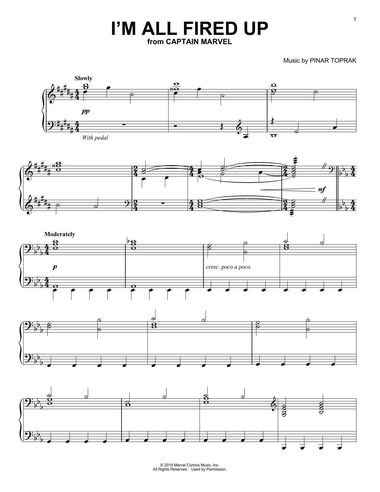 Pinar Toprak I'm All Fired Up (from Captain Marvel) sheet music notes and chords
