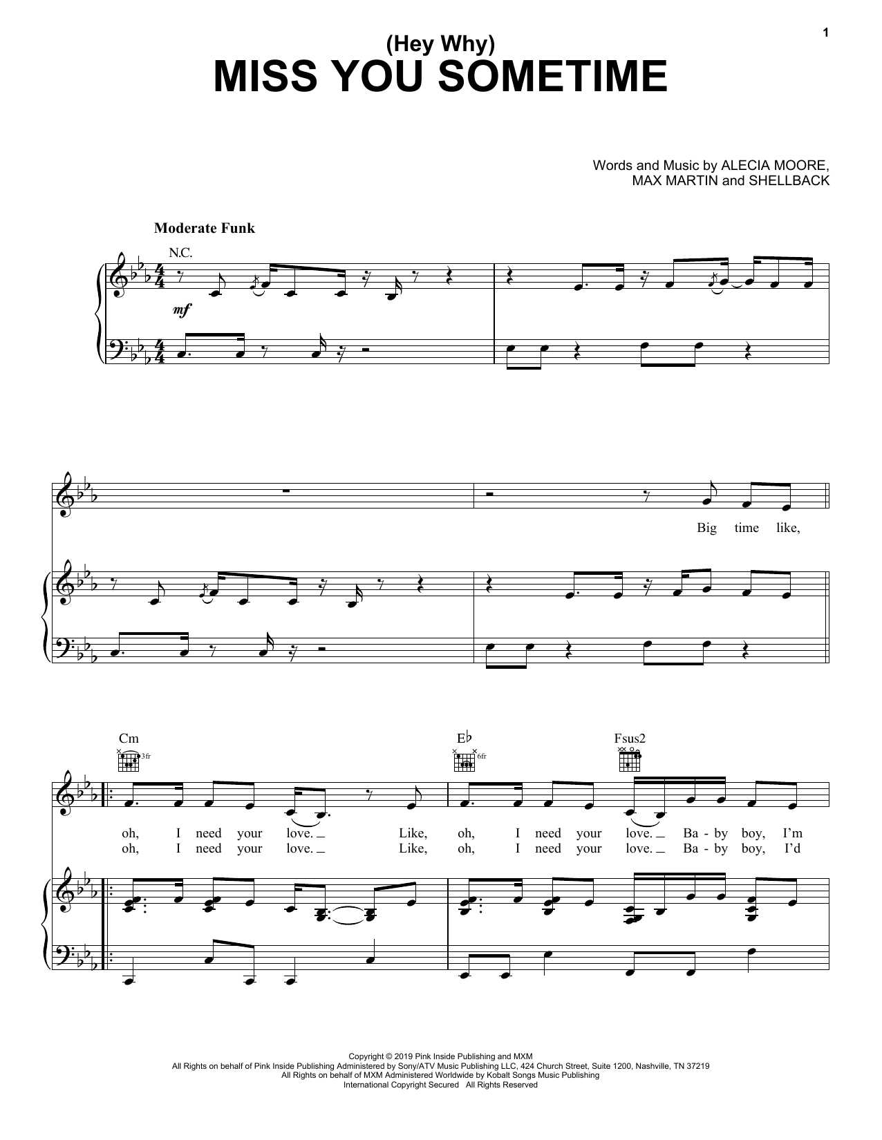 Pink (Hey Why) Miss You Sometime sheet music notes and chords