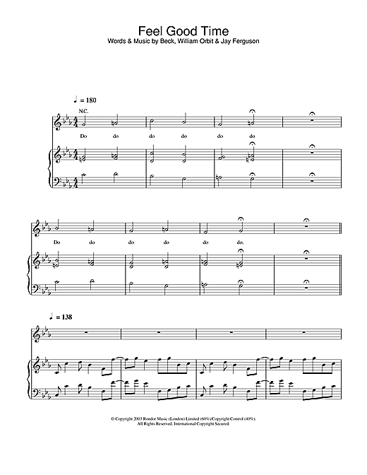 Pink Feel Good Time sheet music notes and chords. Download Printable PDF.