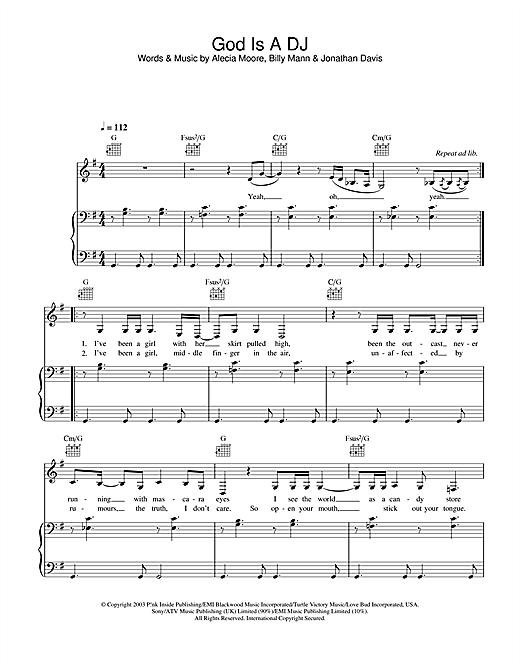 Pink God Is A DJ sheet music notes and chords