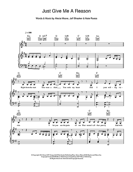 Pink Just Give Me A Reason (feat. Nate Ruess) sheet music notes and chords. Download Printable PDF.