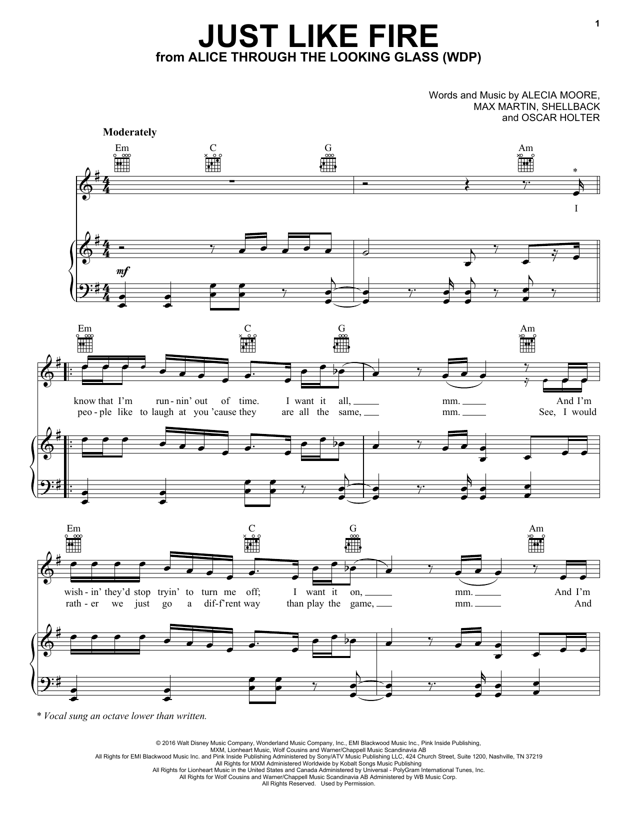 Pink Just Like Fire sheet music notes and chords. Download Printable PDF.