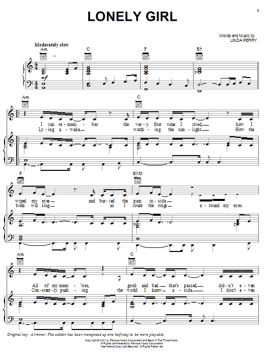Pink Lonely Girl sheet music notes and chords