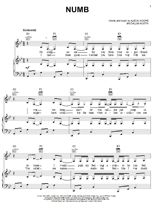 Pink Numb sheet music notes and chords