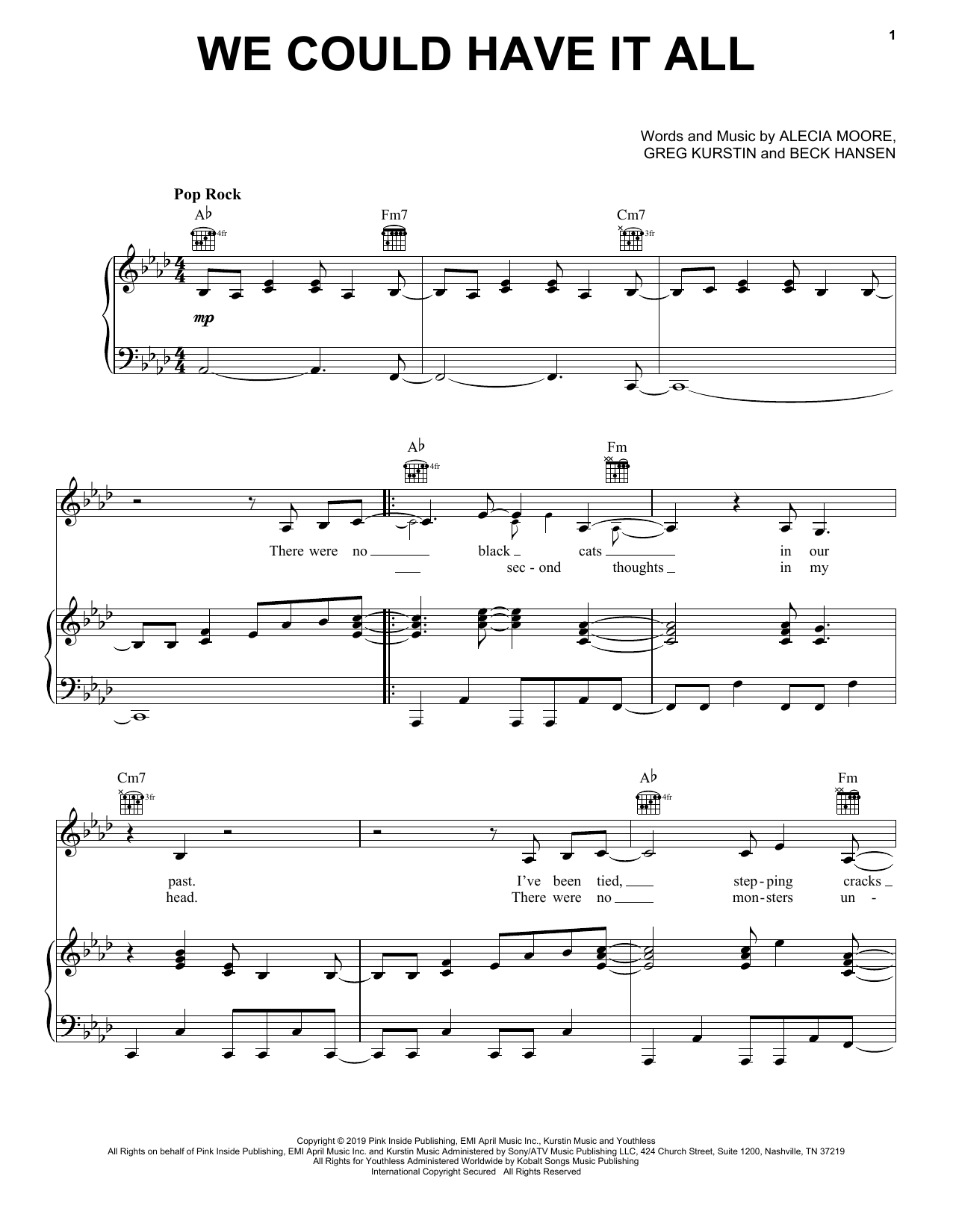 Pink We Could Have It All sheet music notes and chords