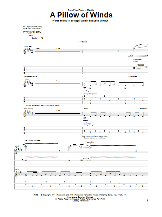 Pink Floyd A Pillow Of Winds sheet music notes and chords. Download Printable PDF.