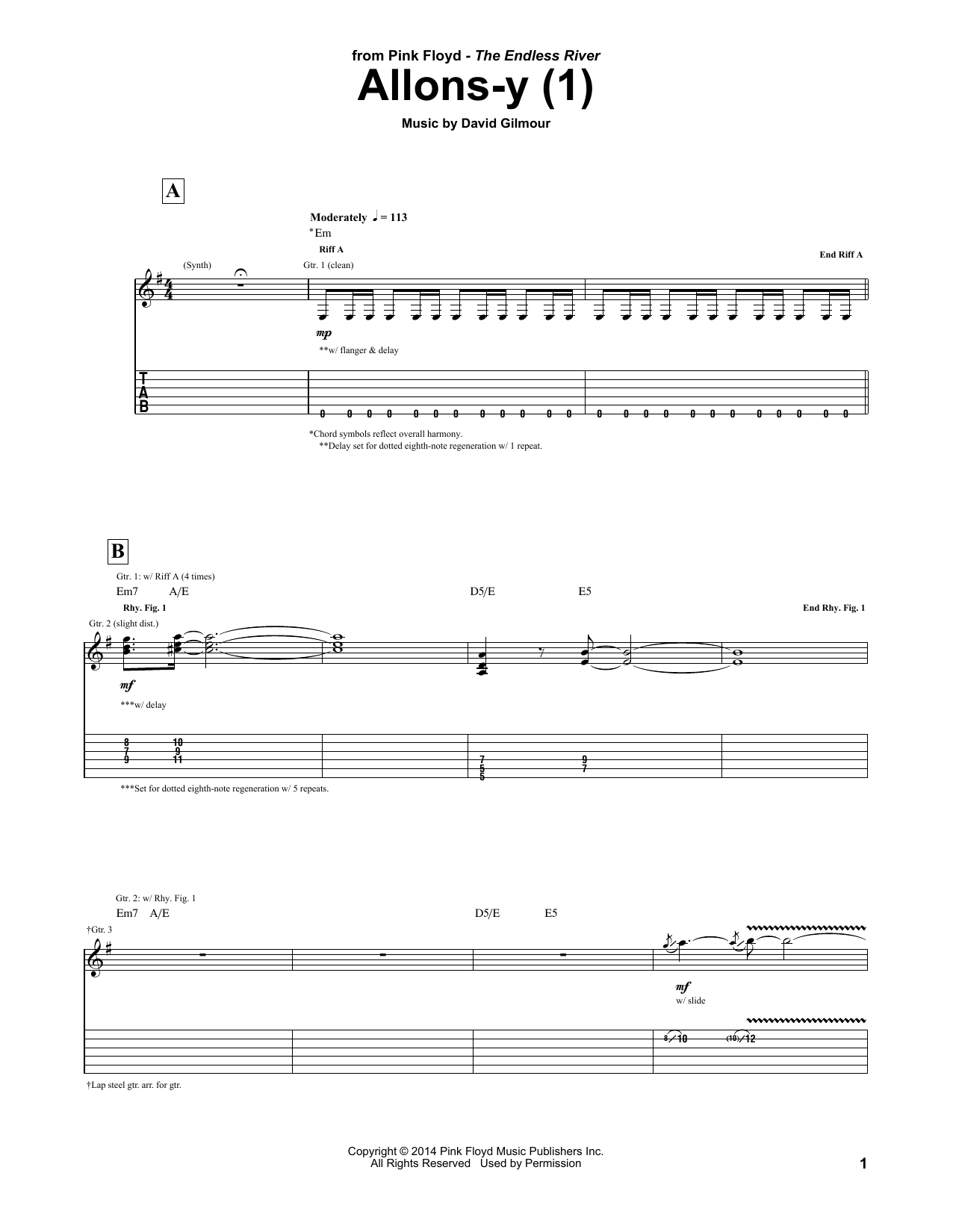 Pink Floyd Allons Y (1) sheet music notes and chords. Download Printable PDF.