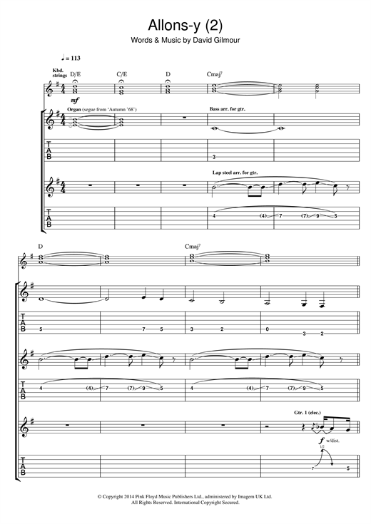 Pink Floyd Allons Y (Part 2) sheet music notes and chords. Download Printable PDF.