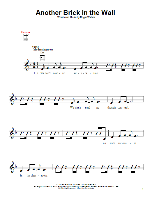 Pink Floyd Another Brick In The Wall sheet music notes and chords. Download Printable PDF.