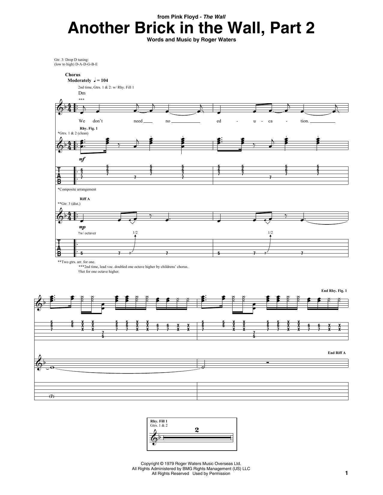 Pink Floyd Another Brick In The Wall, Part 2 sheet music notes and chords. Download Printable PDF.