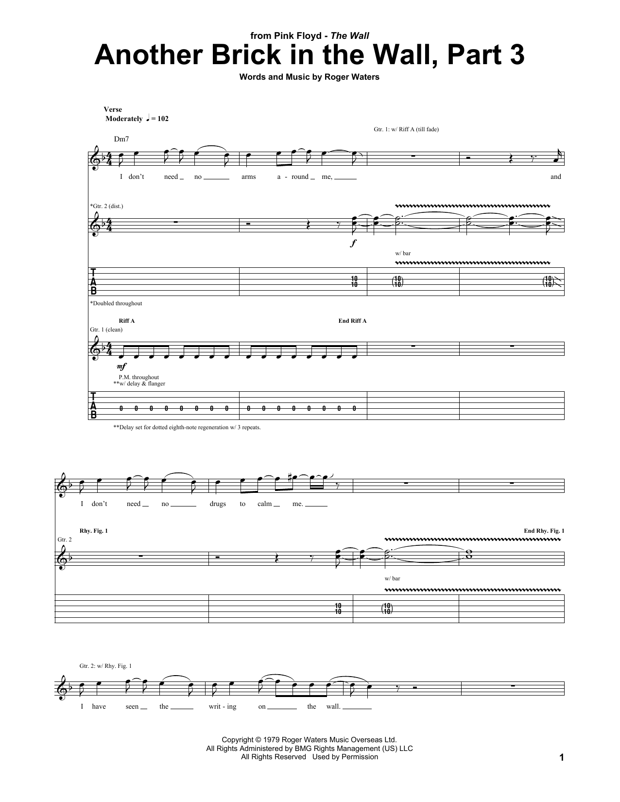 Pink Floyd Another Brick In The Wall, Part 3 sheet music notes and chords. Download Printable PDF.