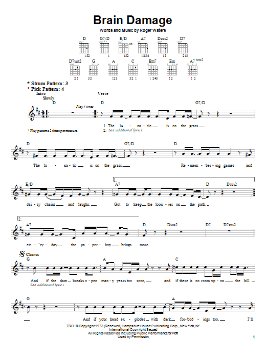 Pink Floyd Brain Damage sheet music notes and chords