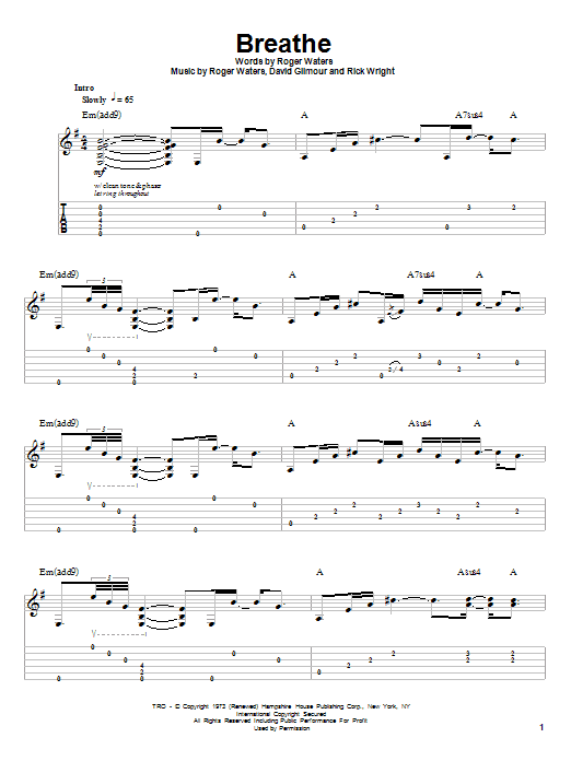 Pink Floyd Breathe sheet music notes and chords. Download Printable PDF.