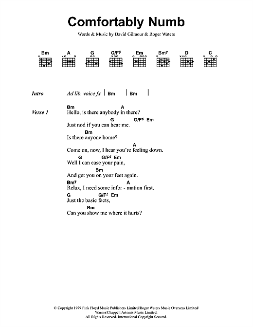 Pink Floyd Comfortably Numb sheet music notes and chords