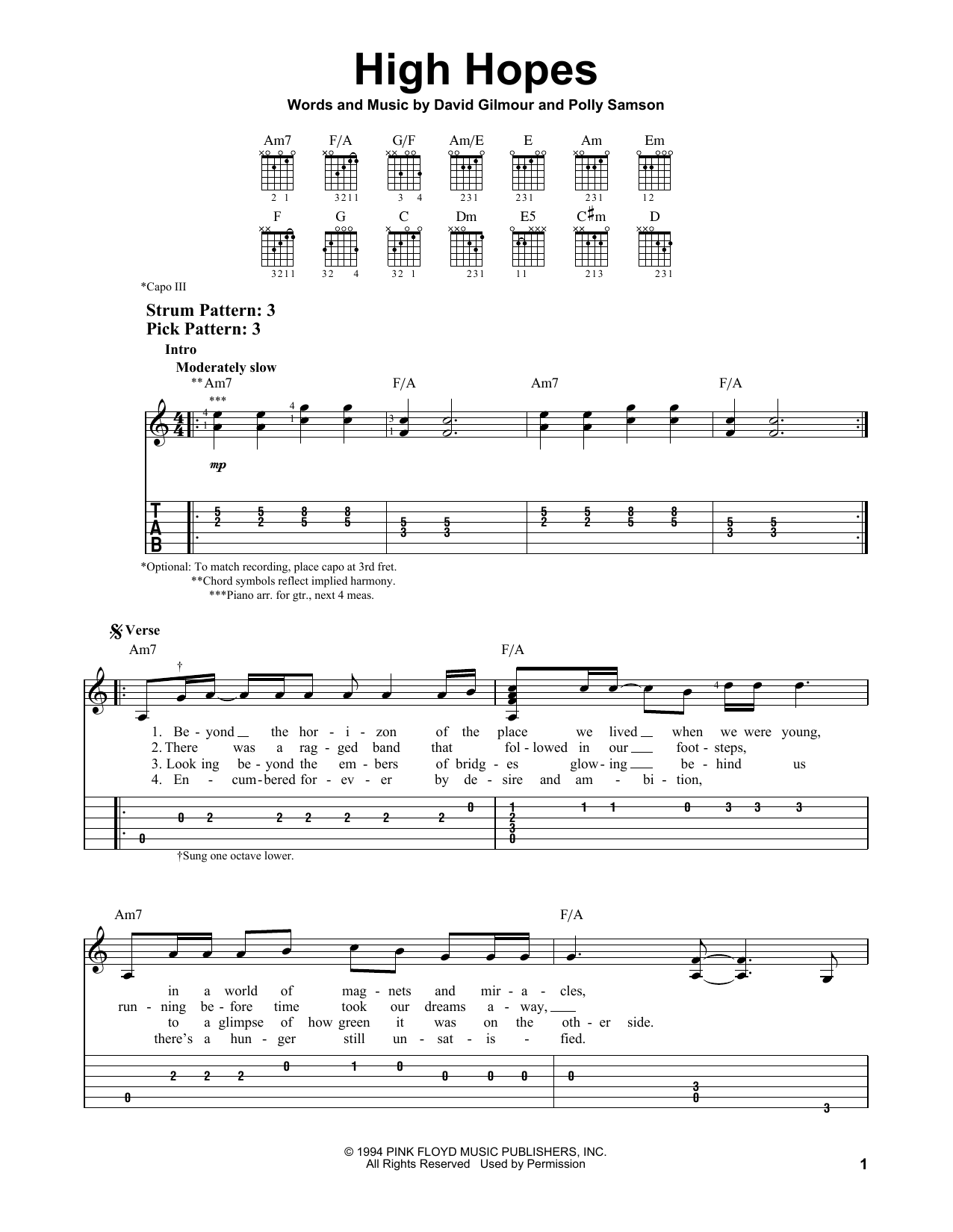 Pink Floyd 'High Hopes' Sheet Music Notes, Chords | Download Printable Easy  Guitar Tab - SKU: 162015