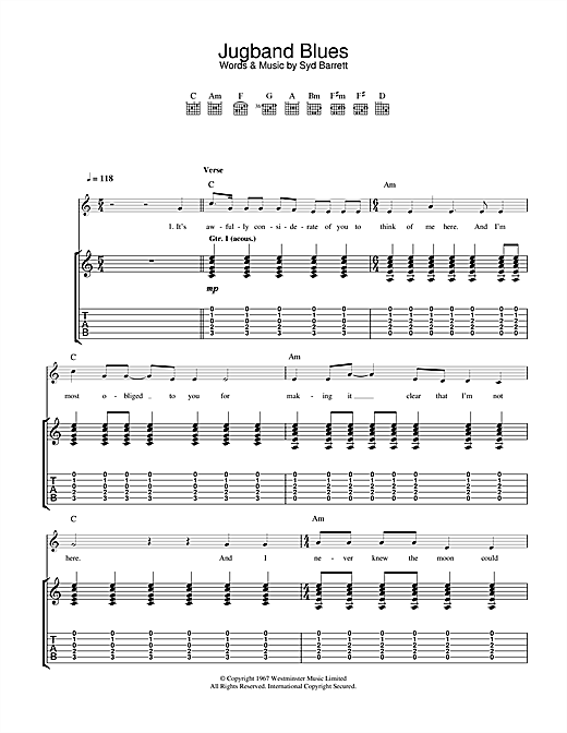 Pink Floyd Jugband Blues sheet music notes and chords. Download Printable PDF.