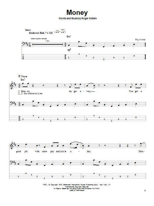 Pink Floyd Money sheet music notes and chords