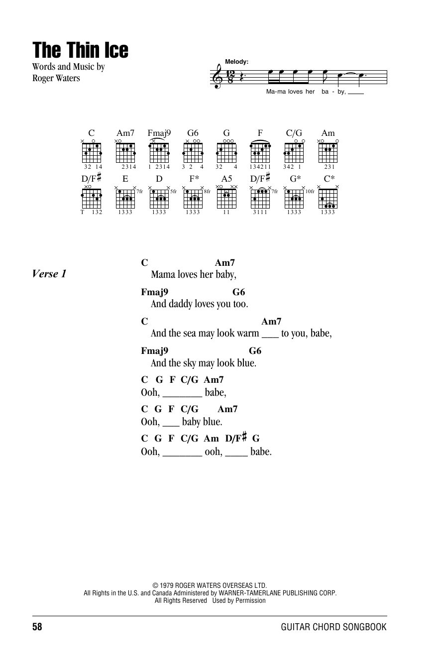 Pink Floyd The Thin Ice sheet music notes and chords. Download Printable PDF.