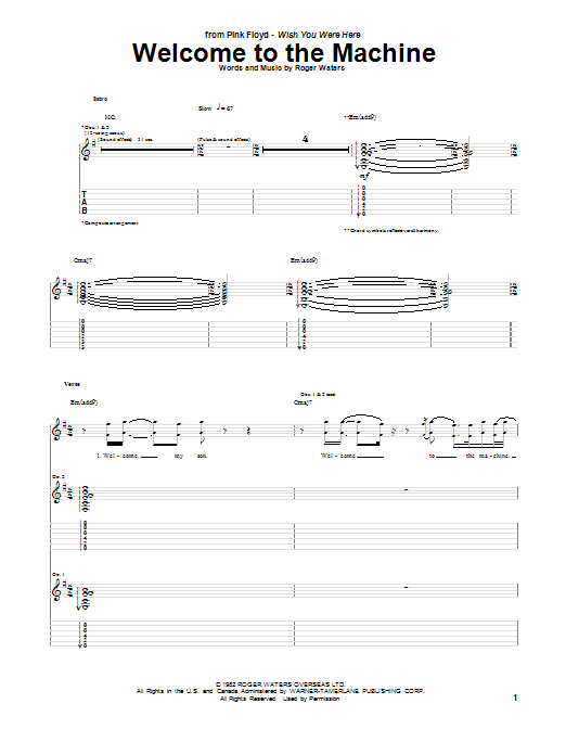 Pink Floyd Welcome To The Machine sheet music notes and chords