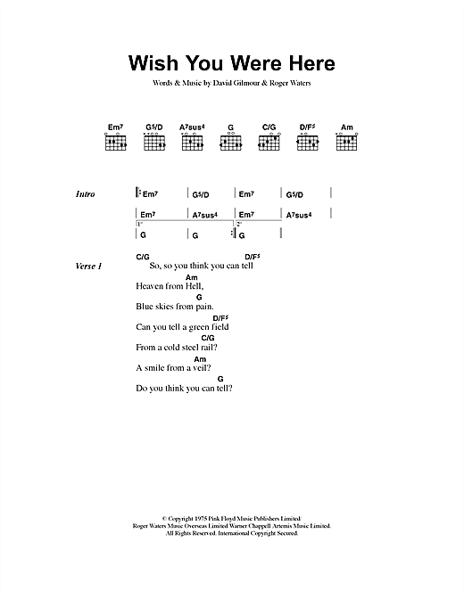 Pink Floyd Wish You Were Here sheet music notes and chords. Download Printable PDF.