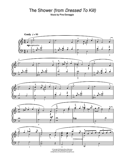 Pino Donaggio The Shower (from Dressed To Kill) sheet music notes and chords. Download Printable PDF.