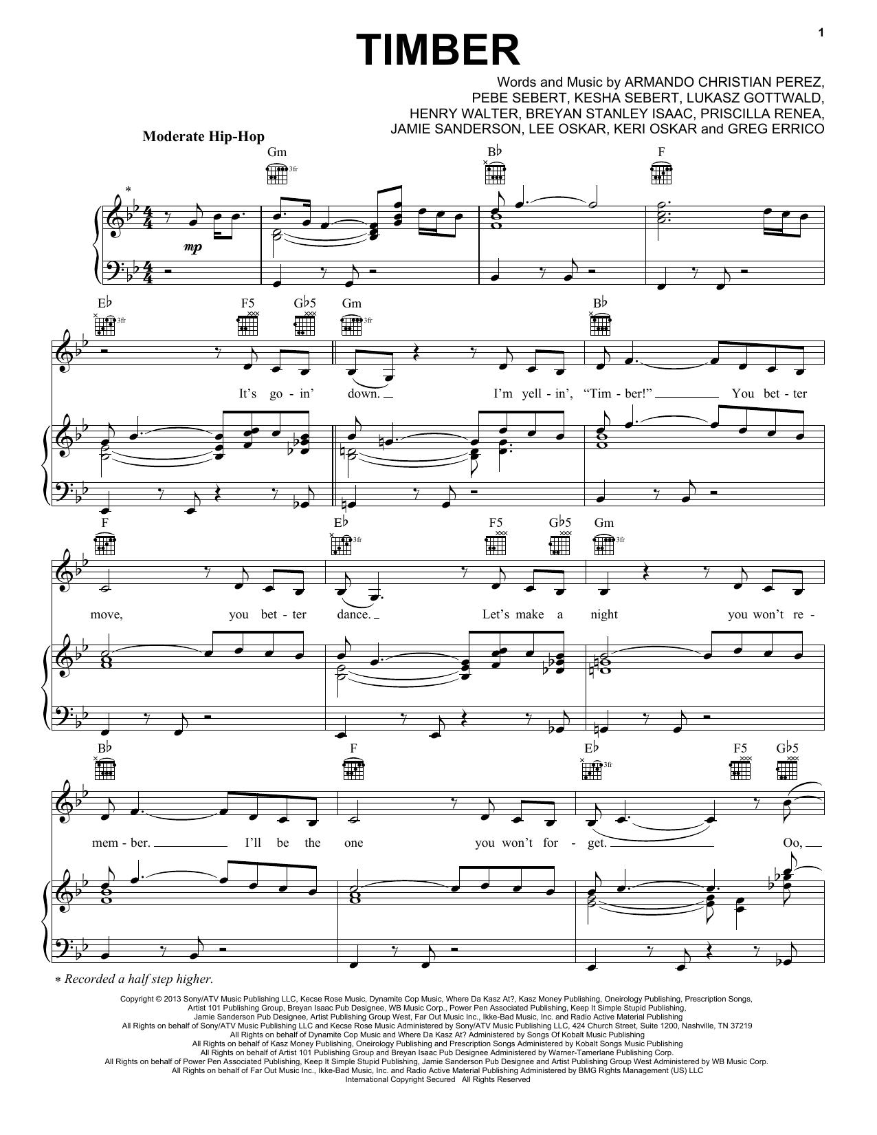 Pitbull Featuring Ke$ha Timber sheet music notes and chords. Download Printable PDF.