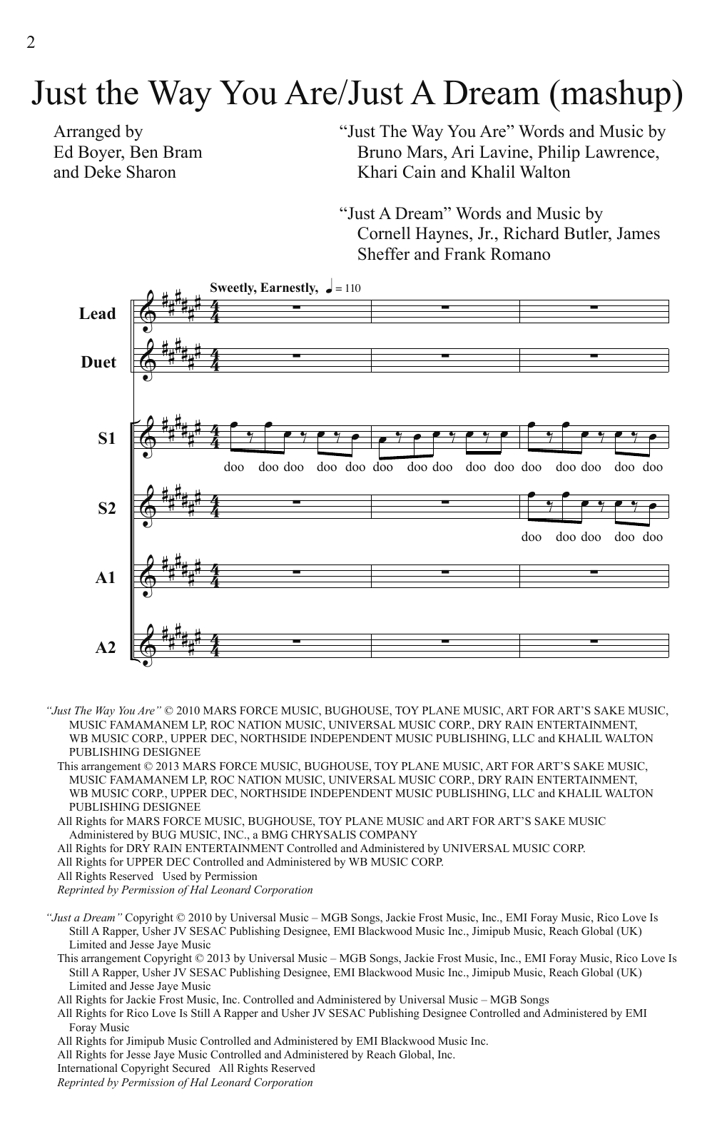 Pitch Perfect (Movie) Just The Way You Are/Just A Dream (Mashup) (from Pitch Perfect) (arr. Deke Sharon) sheet music notes and chords. Download Printable PDF.
