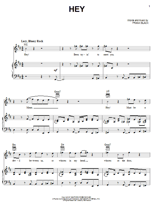 Pixies Hey sheet music notes and chords. Download Printable PDF.