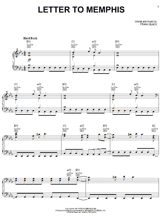 Pixies Letter To Memphis sheet music notes and chords. Download Printable PDF.