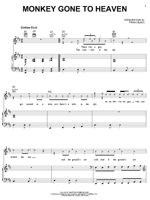 Pixies Monkey Gone To Heaven sheet music notes and chords. Download Printable PDF.