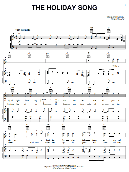 Pixies The Holiday Song sheet music notes and chords. Download Printable PDF.