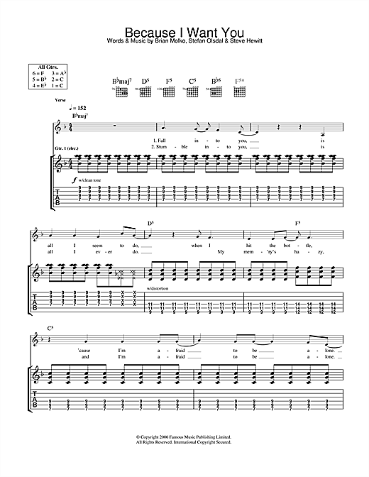 Placebo Because I Want You sheet music notes and chords. Download Printable PDF.