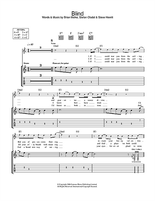 Placebo Blind sheet music notes and chords. Download Printable PDF.
