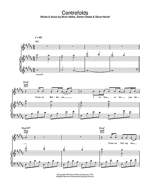 Placebo Centrefolds sheet music notes and chords