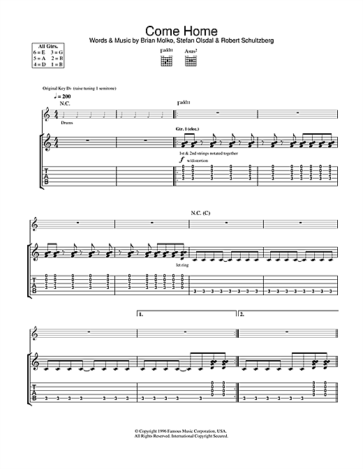 Placebo Come Home sheet music notes and chords