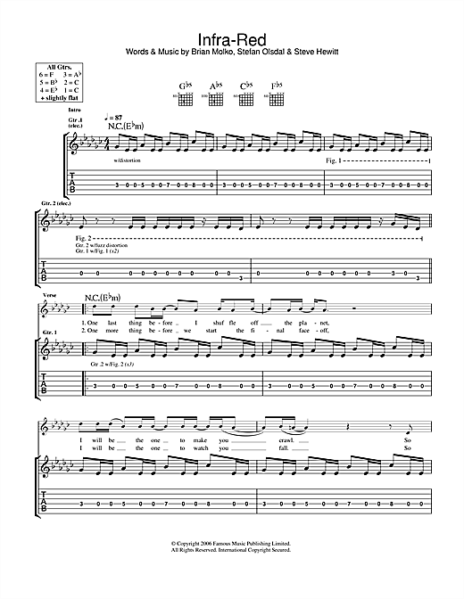 Placebo Infra-Red sheet music notes and chords. Download Printable PDF.
