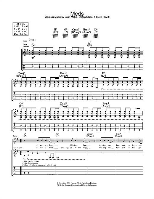 Placebo Meds sheet music notes and chords. Download Printable PDF.