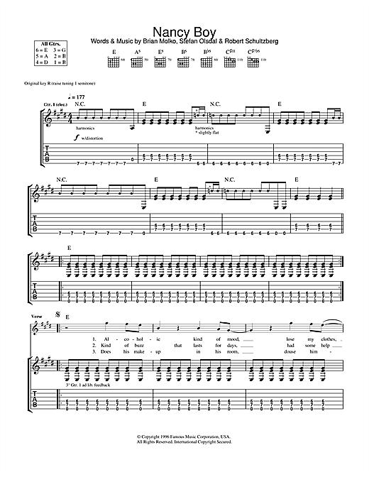 Placebo Nancy Boy sheet music notes and chords