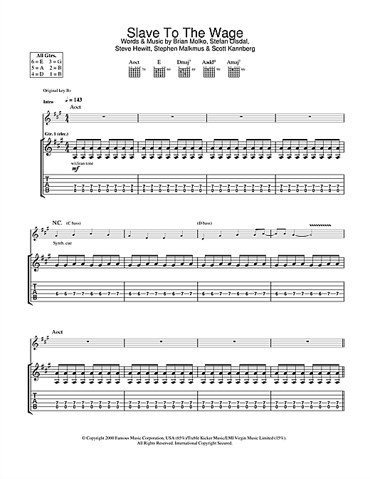 Placebo Slave To The Wage sheet music notes and chords