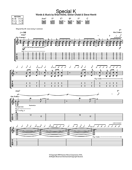 Placebo Special K sheet music notes and chords