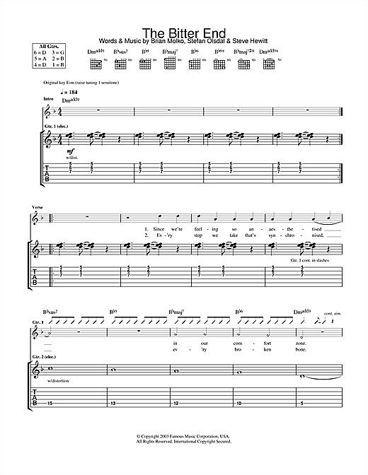 Placebo The Bitter End sheet music notes and chords