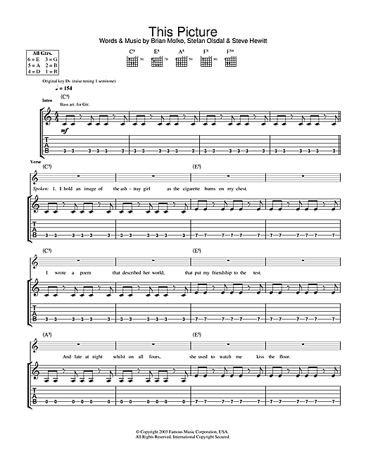Placebo This Picture sheet music notes and chords. Download Printable PDF.