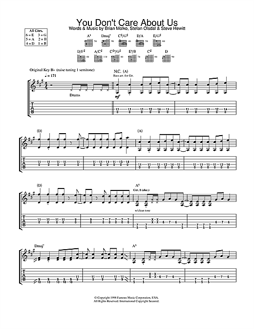 Placebo You Don't Care About Us sheet music notes and chords