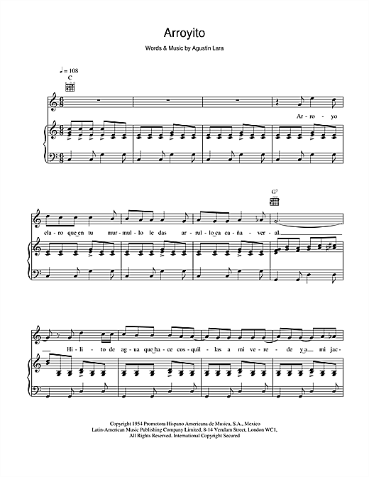 Placido Domingo Arroyito sheet music notes and chords