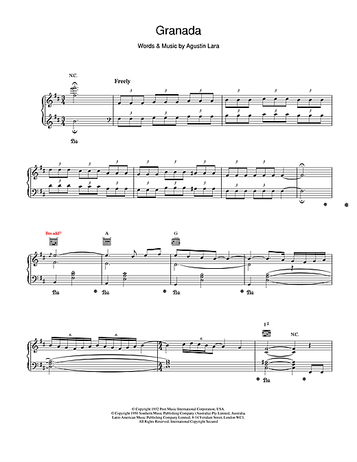 Placido Domingo Granada sheet music notes and chords